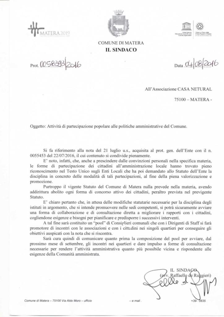 risposta del sindaco di Matera